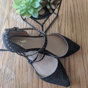 Black Sparkly Mix No. 6 pointed toe Flat